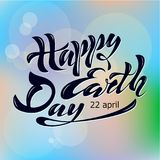 Beautiful handwritten text, calligraphy, lettering Happy Earth Day on April 22 on a textured background. Vector illustration for g. Reeting card, poster, logo Royalty Free Stock Photo