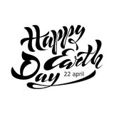 Beautiful handwritten text, calligraphy, lettering Happy Earth Day on April 22 on a textured background. Vector illustration for g. Reeting card, poster, logo Royalty Free Stock Images