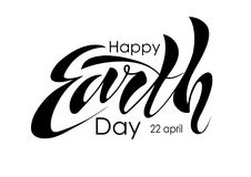 Beautiful handwritten text, calligraphy, lettering Happy Earth Day on April 22 on a textured background. Vector illustration for g. Reeting card, poster, logo Royalty Free Stock Photos