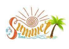Beautiful handwritten text of summer time. Vector illustration o royalty free illustration