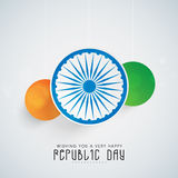 Beautiful hanging stickers in national flag color with Ashoka Wheel. Royalty Free Stock Photos