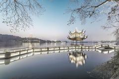 Beautiful hangzhou at dawn and ancient pavilion Royalty Free Stock Photo