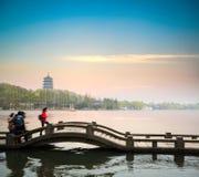 Beautiful hangzhou scenery at dusk Royalty Free Stock Images