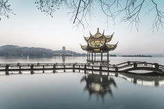 Beautiful hangzhou in sunset and ancient pavilion Stock Image
