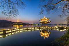 Beautiful hangzhou in twilight and ancient pavilion Royalty Free Stock Photos