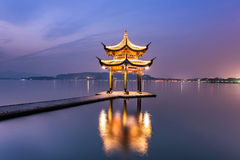 Beautiful hangzhou twilight time and ancient pavilion Royalty Free Stock Images