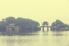 The beautiful hangzhou west lake scenery in a misty morning Stock Images