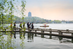 Beautiful hangzhou west lake scenery in spring Stock Photography