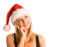 Beautiful happiness woman in santa hat Stock Photos