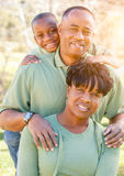 Beautiful Happy African American Family Portrait Outdoors Stock Image
