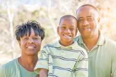 Beautiful Happy African American Family Portrait Outdoors Royalty Free Stock Images