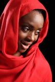 Beautiful happy African American muslim girl hijab stock photo