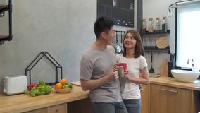 Beautiful happy asian couple are drinking a cup of coffee together in the kitchen. Man and woman talking while having breakfast.