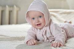 Beautiful happy baby after bath look at the camera Royalty Free Stock Photos