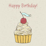 Beautiful happy birthday card. Beautiful happy birthday card with sweet detailed drawn cup cake Royalty Free Stock Photos