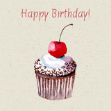 Beautiful happy birthday card. Beautiful happy birthday card with sweet detailed drawn cup cake Royalty Free Stock Photo