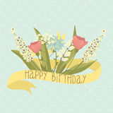 Beautiful happy birthday greeting card with flowers Royalty Free Stock Photography