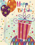 Beautiful happy birthday greeting card with gift a Stock Images