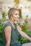 Beautiful happy blonde woman smiling stock photos