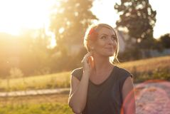 Beautiful happy blonde woman smiling stock images