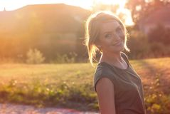 Beautiful happy blonde woman smiling royalty free stock photography