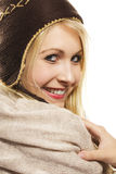 Beautiful happy blonde woman wearing winter dress Royalty Free Stock Photography