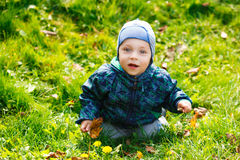 Beautiful happy boy sitting on grass Royalty Free Stock Photo