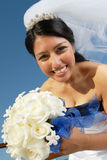 Beautiful and happy bride stock photo