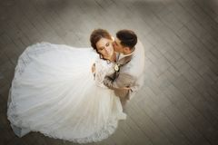 Beautiful happy bride and groom. In the park. Happy marrige. Love story stock images