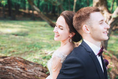 Beautiful happy bride and groom sitting on a log in the park. . Wedding day. Beautiful bride and elegant groom. Walking after wedding ceremony Stock Photo