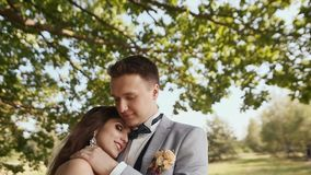 A beautiful and happy bride and groom under the branches of a tree together. The bride puts her head on the groom`s stock footage