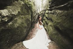 Beautiful happy bride outdoors in a forest with rocks. Wedding perfect day Royalty Free Stock Photography