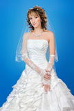 Beautiful happy bride in a wedding dress on blue background Royalty Free Stock Photo