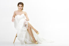 Beautiful happy bride in wedding dress on white background Royalty Free Stock Photo