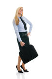 Beautiful happy businesswomen with briefcase Royalty Free Stock Image
