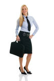 Beautiful and happy businesswomen with briefcase. Isolated on white Stock Photos