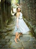 Beautiful, Happy Caucasian Woman Dancing Barefoot in Magical Fairytale Satting stock images