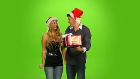 Beautiful happy christmas holiday couple, love and stock video footage