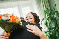 Beautiful  happy chubby bride with tears in her Stock Photography
