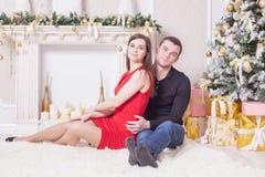 Beautiful happy couple celebrating New Year Royalty Free Stock Images