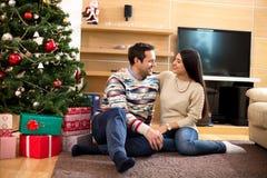 Beautiful happy couple celebrating New Year stock image