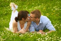 Beautiful and happy couple kissing Stock Photo