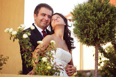 Beautiful happy couple in nature Stock Photos