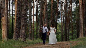 Beautiful happy couple walking in the coniferous forest. Walk along a forest road on camera. Communicate with each other and smili stock video