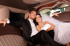 Beautiful happy couple on wedding-day royalty free stock photography