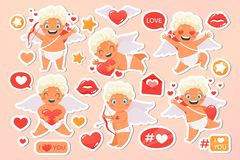 Beautiful happy cupid flying in clouds. Angel congratulates on holiday. Valentines Day set cards. Wedding, oliday, event stock illustration