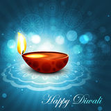 Beautiful happy diwali bright blue colorful hindu. Diya festival background illustration Stock Illustration