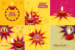 Beautiful happy diwali 6 collection set. Beautiful happy diwali 6 collection celebration colorful festival background stock illustration