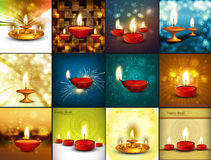 Beautiful happy diwali diya 12 collection. Decorated bright colorful hindu festival background vector illustration