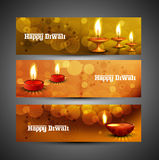 Beautiful Happy diwali headers set  Stock Photography